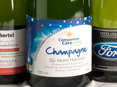 personalised wine and champagne labels