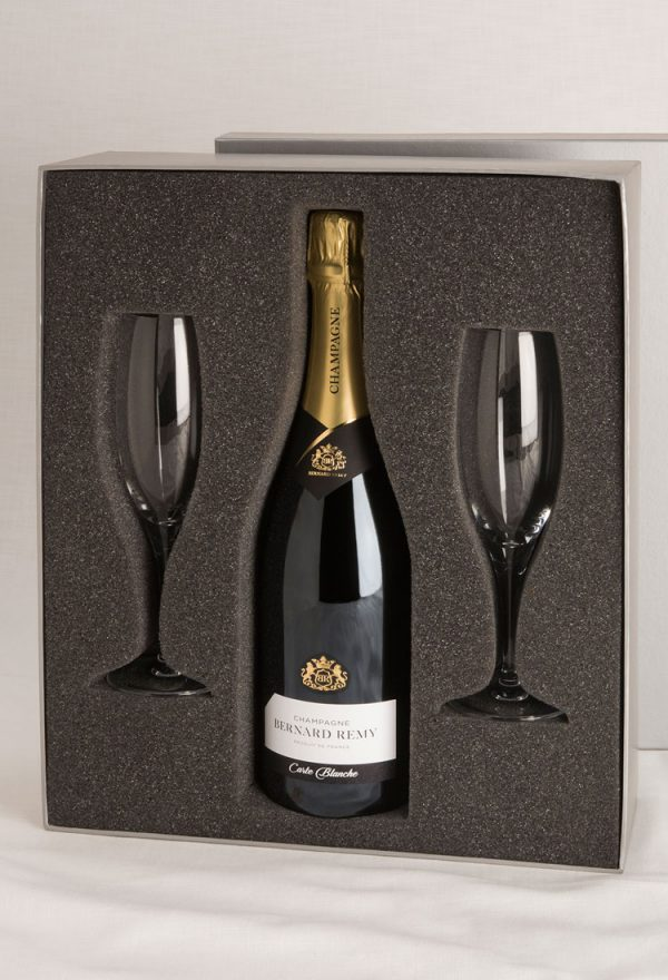 champagne and Flutes in Silver Box